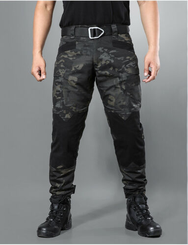 Mens Tactical Military Cargo Pants Army Combat Multi Pocket Casual Trousers Camo