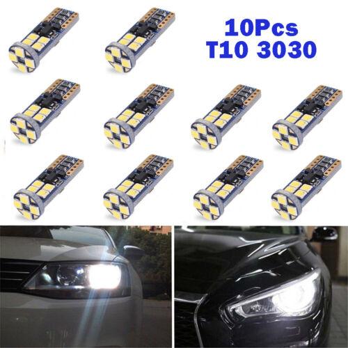10pcs 12 SMD 3030 T10 168 194 W5W LED 6000K Canbus Xenon White Light Bulb Lamp