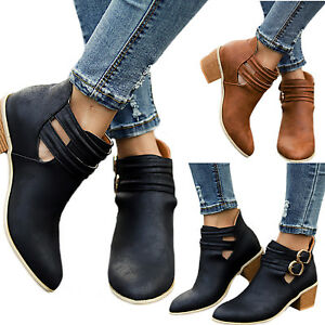 Womens-Ladies-Low-Heel-Buckle-Ankle-Martin-Boots-Block-Heel-Leather-Casual-Shoes