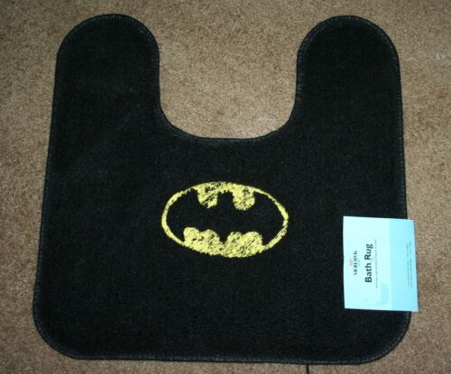"""Batman"" Inspired Black Contour Bath MohawkRug wdk yellow embroidered NWT"