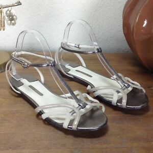 56bac2ca1 Ted Baker Women Pewter & Cream Leather & Suede Strapped Sandals Size ...