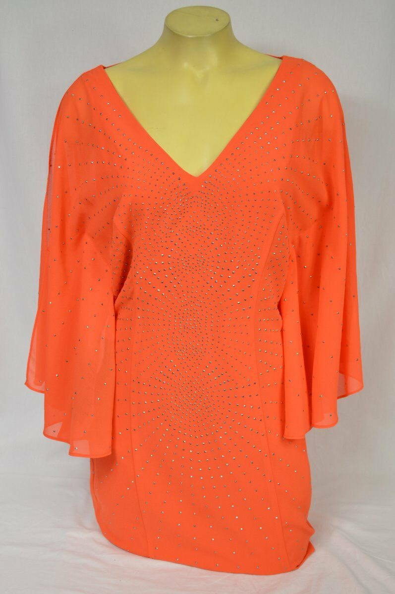 BEBE dress sheer embelished flutter sleeve orange 231447