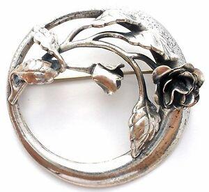 Danecraft-Rose-Sterling-Silver-Brooch-925-Vintage-Round-Flower-Lapel-Pin-Signed