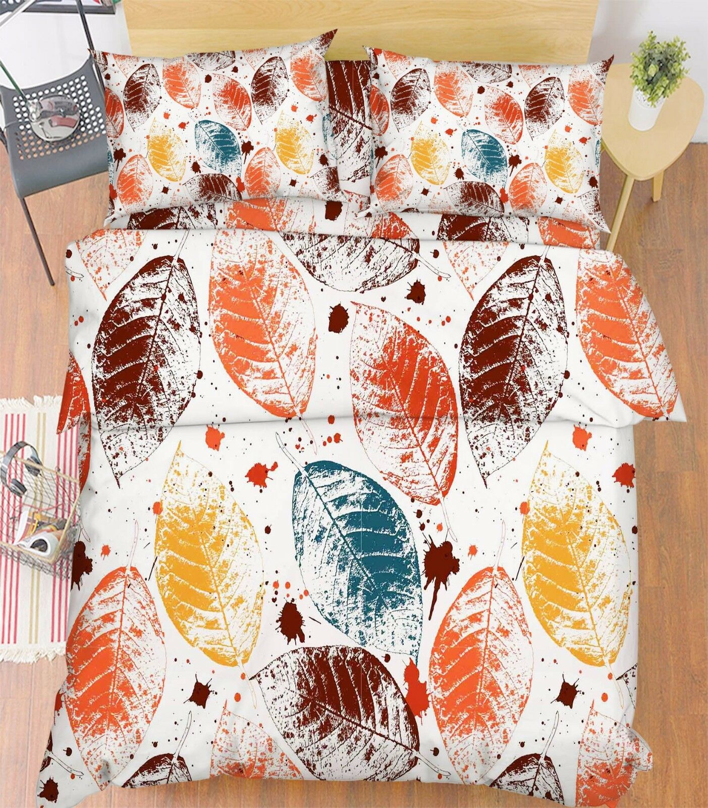 3D Farbe Leaves Bed Pillowcases Quilt Duvet Cover Set Single Queen King Größe AU