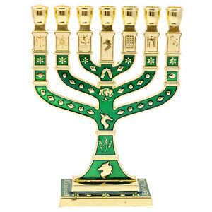 Green-Pewter-7-Branched-Candle-Holder-Jewish-Hanukkah-Menorah-Judaica-5-034-12cm