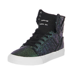 Supra-Sneakers-Kids-Skytop-Black-Sequin-Cornerstone-Nero
