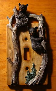 BLACK-BEAR-CUB-SINGLE-TOGGLE-LIGHT-SWITCH-WALL-PLATE-COVER-Cabin-Lodge-Decor-NEW