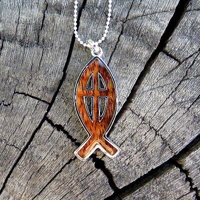 Hawaii Jewelry Koa Wood Fish Cross Silver Rhodium Plated Brass Pendant BRP1106