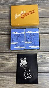 Vintage Playing Cards 2 Decks Hamilton Canasta Cowboy Horse Campsite Blue