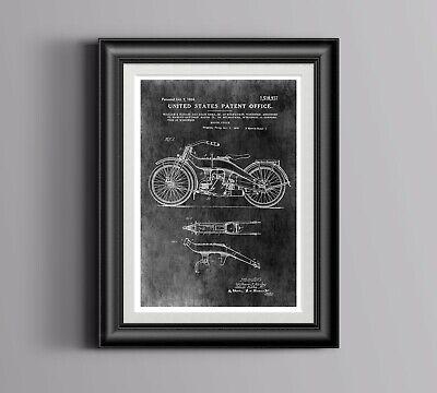 Harley Davidson Poster Patent Print Motorbike// Motorcycle Art Engine Blueprints