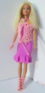 Barbie-Doll-straight-blonde-hair-bright-pink-stretch-dress-necklace-high-heels