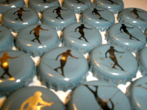 Hi-WIRE BEER BOTTLE CAPS 50 Silver on blue