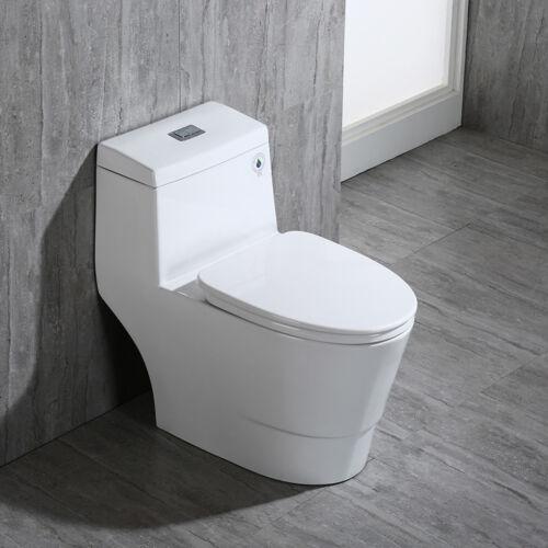 Woodbridge Dual Flush Elongated One Piece Toilet with Soft Closing Seat