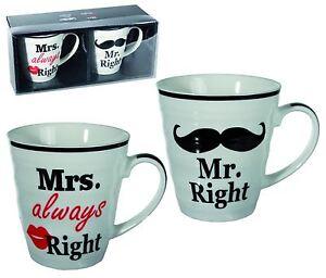 Image Is Loading Mr Right Mrs Always Mug Set Coffee