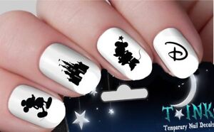 Disney-Nail-Decals-Stickers-Mickey-mouse-minnie-Castle-black-NAIL-ART-set-19