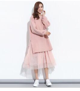 women dress korean fake two pieces mesh yarn stitching striped loose knit dress
