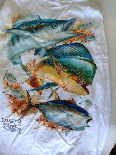 New Authentic Calcutta Offshore Trio Long Sleeve T-Shirt 2XL
