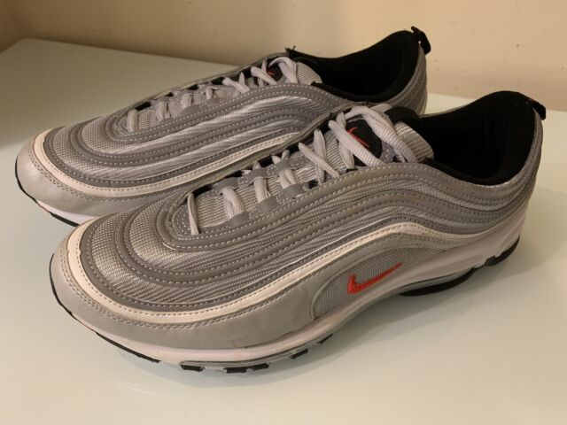 Nike Air Max 97 OG Silver Bullets 884421 001 Metallic SilverVarsity Red Sz 10