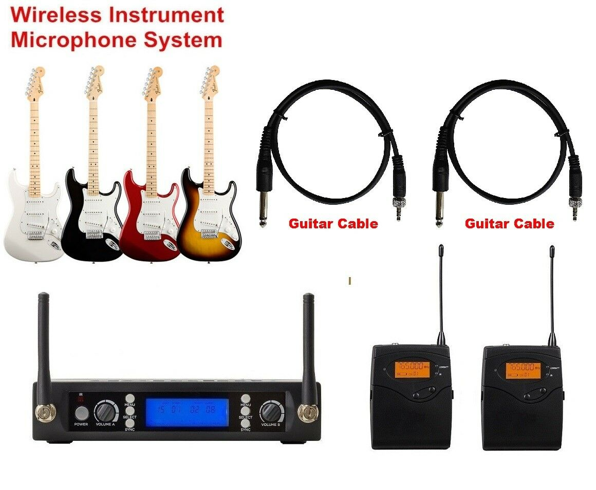 Wireless Guitar Microphone UHF Dual Channels Guitar Wireless Instrument System