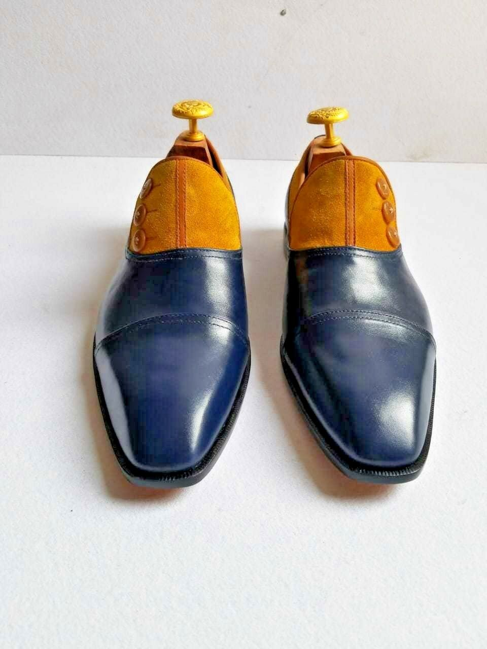 Pelle blu autentica per gli uomini Camel Suede  Button Toe Cap su scarpe  Spedizione gratuita al 100%
