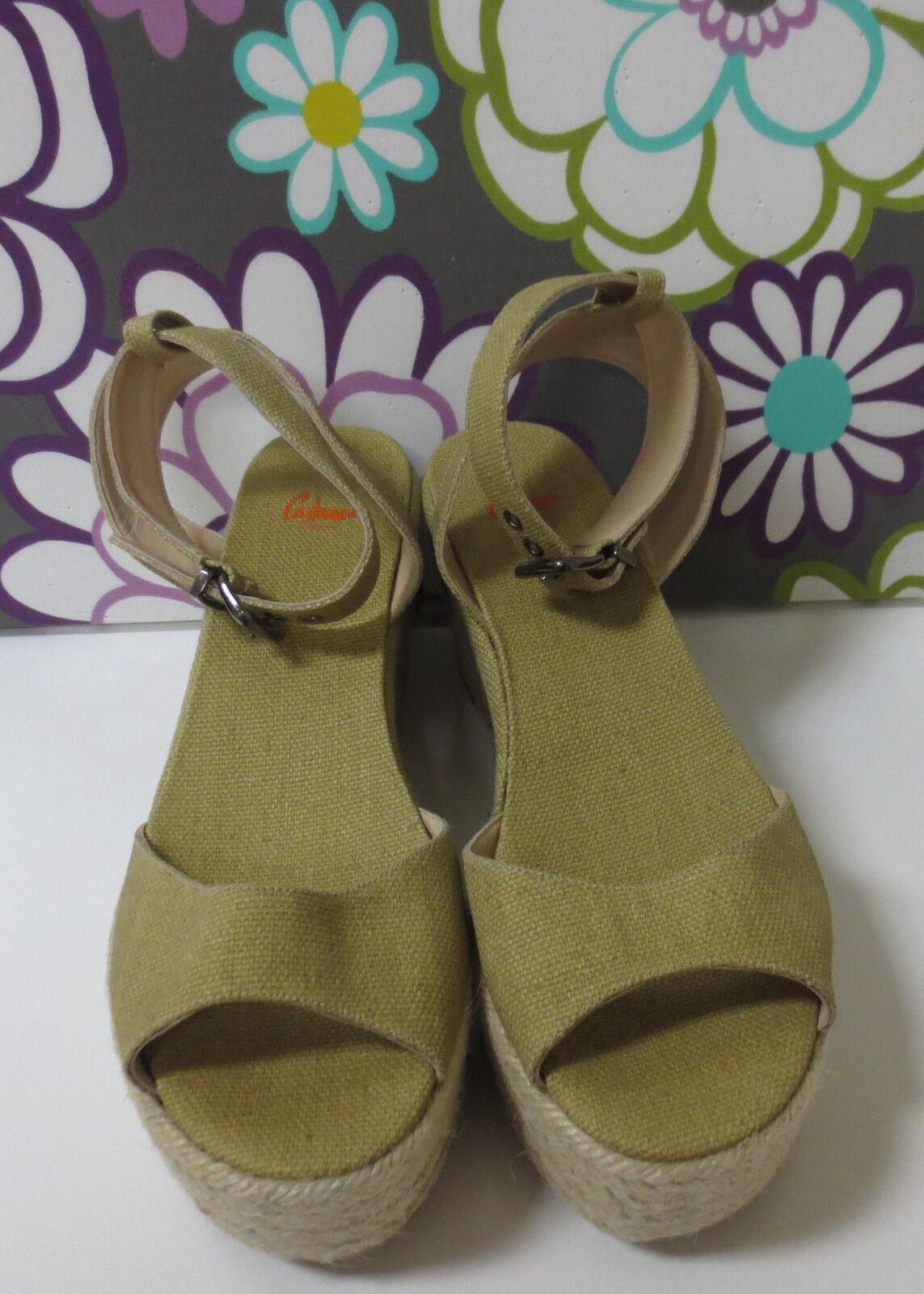 CASTANER Beige Canvas Espadrille Sandals shoes 41 NEW
