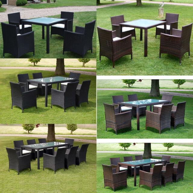 lounge sitzgruppe essgruppe tischgruppe polyrattan gartenm bel set mit polstern ebay. Black Bedroom Furniture Sets. Home Design Ideas