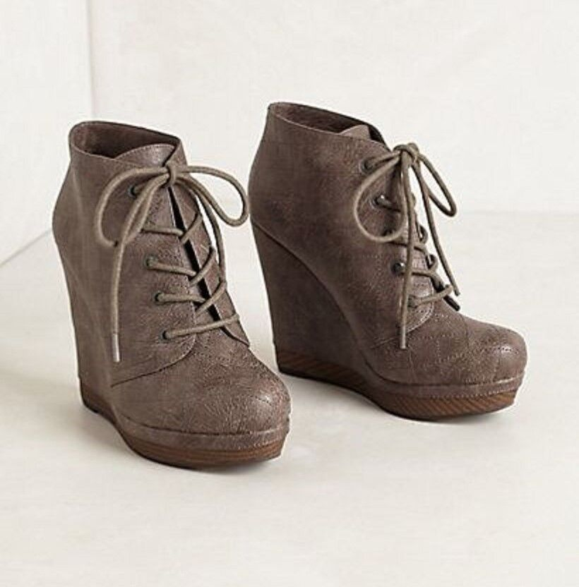 ANTHROPOLOGIE ZURICH BOOTIES SEYCHELLES Schuhe WEDGE LACE UP ANKLE BOOTS GRAY