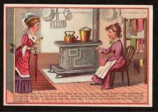 GROTON VERMONT*WELCH & RENFREW*DIAMOND DYES MRS BROWN BY THE STOVE*TRADE CARD