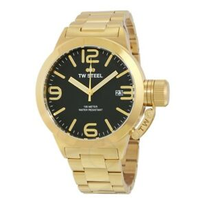 Men-039-s-CB91-TW-Steel-Canteen-Gold-Tone-Watch-with-Black-Dial