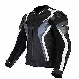 Spada-Curve-Leather-motorcycle-Jacket-Sport-Race-Black-Grey