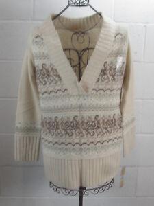 NWT-DKNY-Jeans-Rebel-Poets-Beige-Tan-Beaded-Tunic-Sweater-100-Lamb-039-s-Wool-M-89