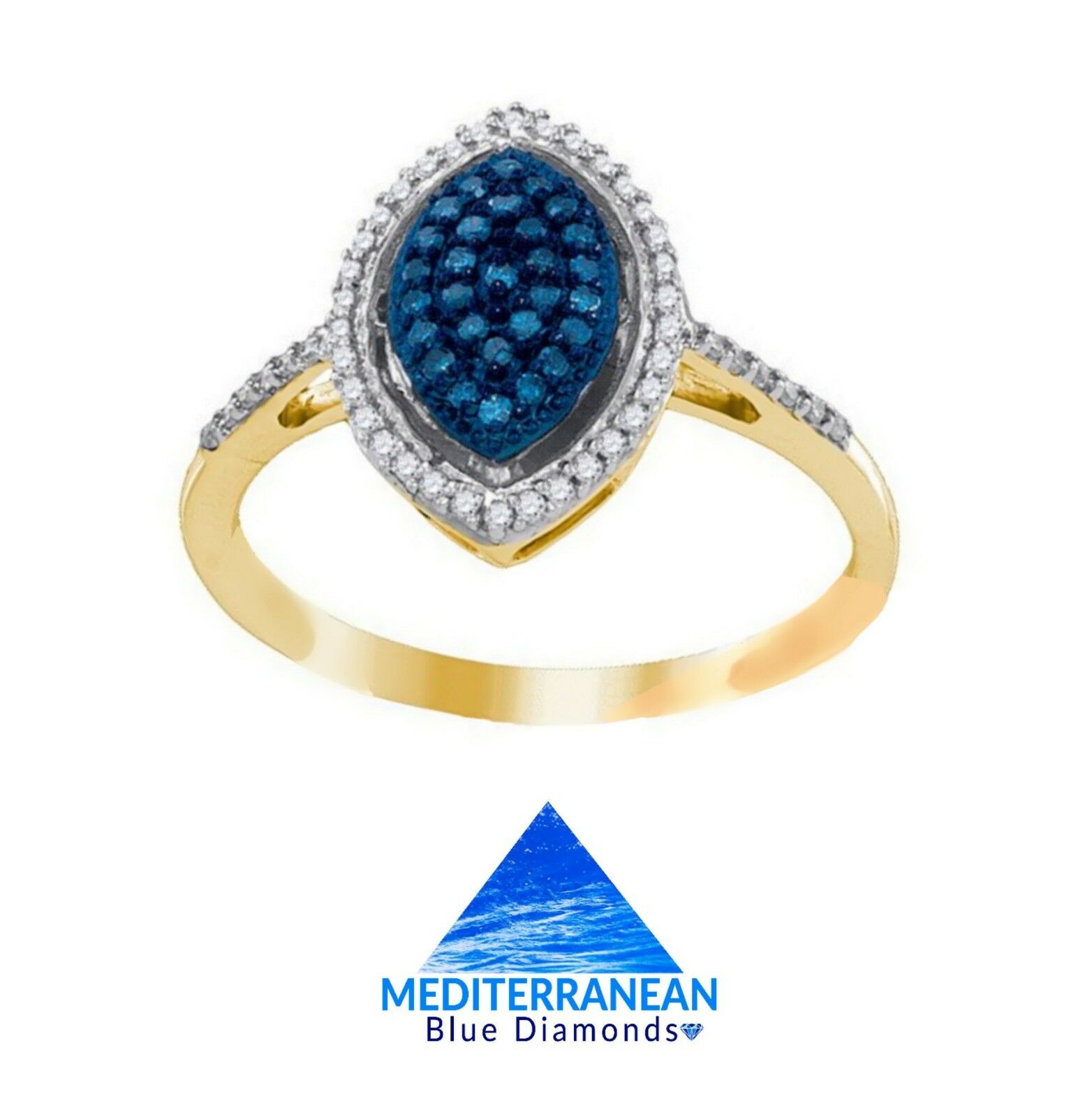 10K YELLOW gold MEDITERRANEAN blueE & WHITE DIAMOND SPARKLING MARQUISE RING .27CT