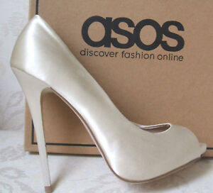 6687f91b2ac937 BNWB ASOS IVORY CREAM SATIN HIGH HEEL BRIDAL WEDDING SHOES SIZE 2 3 ...