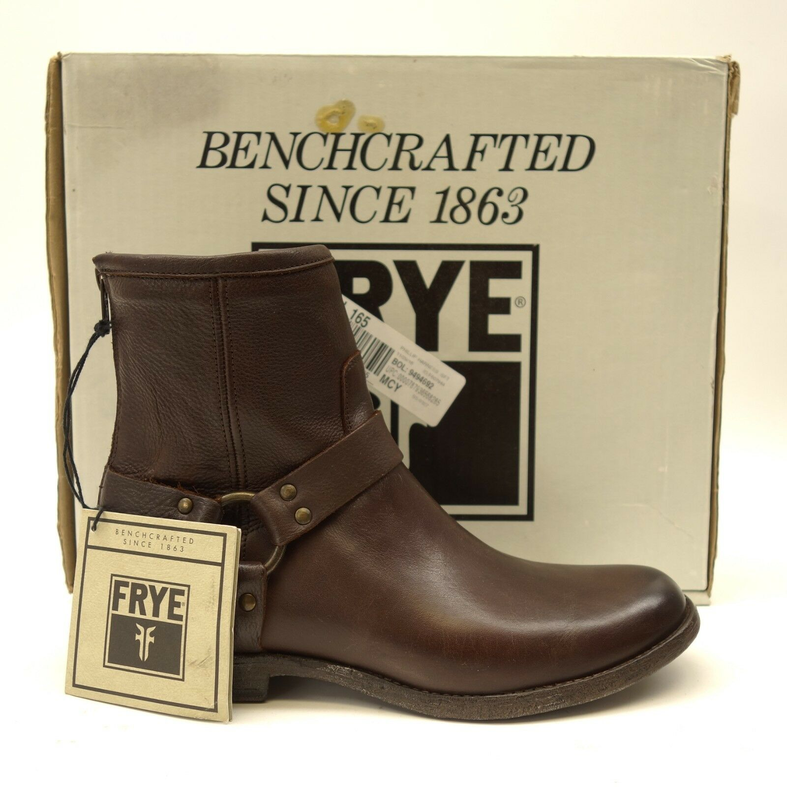 New Frye The Phillip Fine Brown Short Short Short Harness Leather Motorcycle Boot Sz 9.5 b090e0