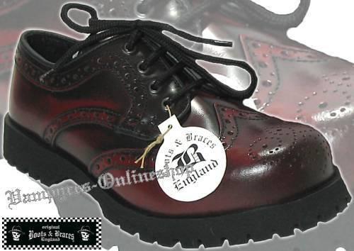 Stiefel & Braces Schuhe 4-Loch Budapester Burgundy Rub Off Rot Schwarz And Rangers