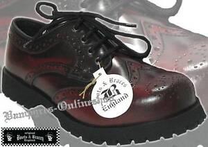 Boots-amp-Braces-Schuhe-4-Loch-Budapester-Burgundy-Rub-Off-Rot-Schwarz-And-Rangers