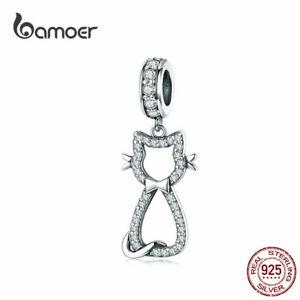 BAMOER-Women-DIY-CZ-Charms-Jewelry-S925-Sterling-silver-Cat-Dangle-Fit-Bracelet