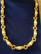 Camrose & Kross Jacqueline Kennedy Swarovski Crystal Pearl 24k Gold pl Necklace