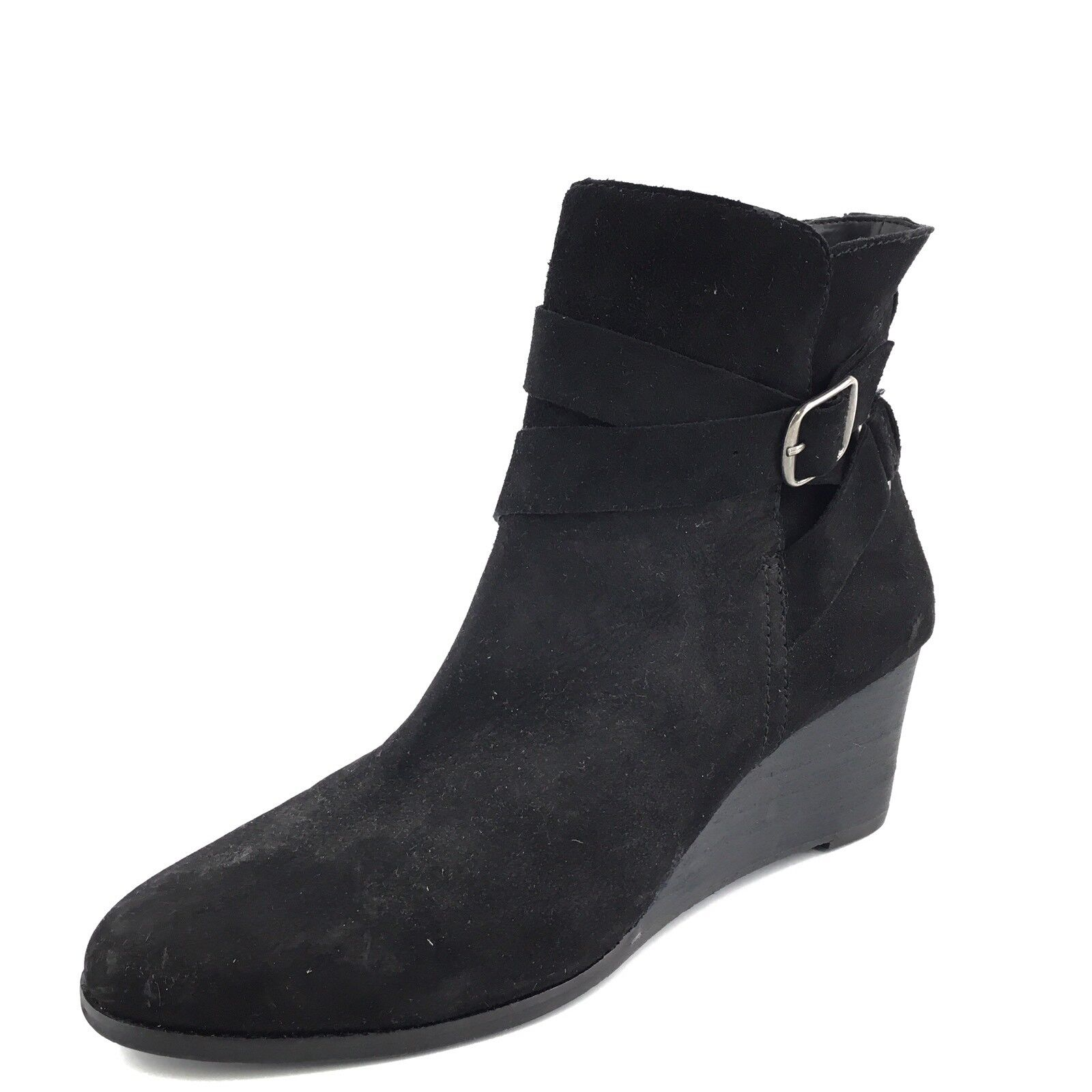 New Lucky Brand Ginnie Women's Black Wedge Suede Wedge Black Ankle Boots Size 8.5 M* 739523