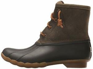 Sperry-Womens-Saltwater-Duck-Round-Toe-Ankle-Rainboots-Brown-Olive-Size-7-0-aH