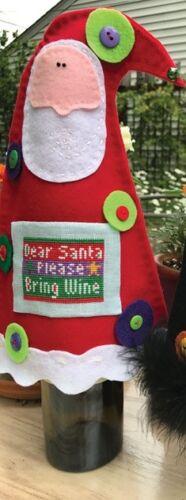 Santa Wine Cover With Buttons and Pattern~Amy Bruecken
