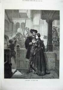 Old-Antique-Print-1874-Parting-Man-Woman-Romance-Wilhelm-Koller-Fine-Art-19th