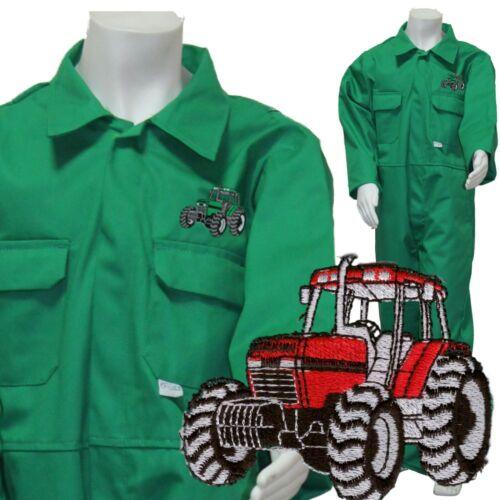 Varios Edades Niños Verde Esmeralda Tractor logotipo Batas