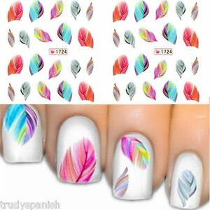 Nail-Art-Water-Decals-Transfers-Stickers-Neon-Coloured-Feathers-Gel-Polish-1724