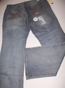 907524964fb Lei Low Rise Bridget Curvy Boot Cut Jeans Distress Blue Torn SZe 17 ...