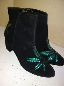 Women-Fashion-Ankle-Boots-Med-Heels-Black-Faux-Suede-with-Sequins-Details