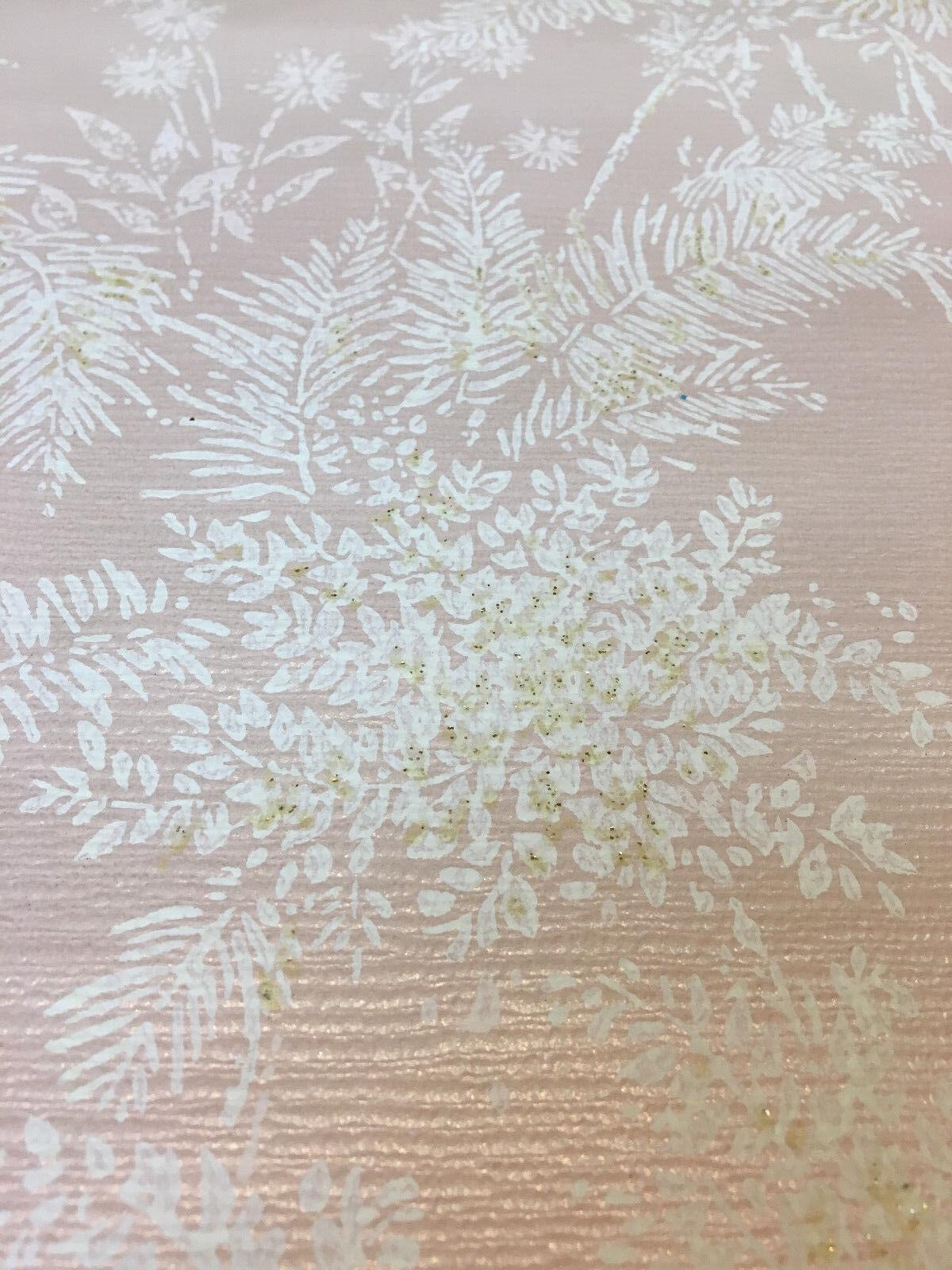 2 partial rolls antique wallpaper 16  19  pink satin paper floral 1930s 1940 NOS