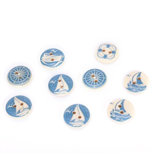10pcs boutons ronds en bois naturel bleu design nautique couture accessoires *tr