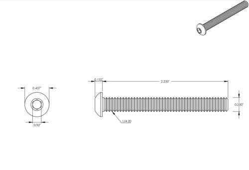 1//4-20 Button Head Cap Screws Stainless Steel Allen Bolts All Lengths Quantities