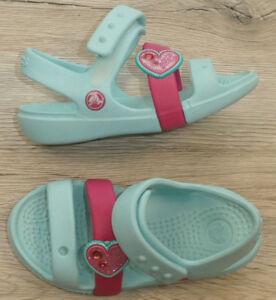 uk availability e33be c4d16 Details zu crocs !! Kinder Mädchen Sandalen Badeschuhe Gr. 25 C8 //  hellblau mit pink